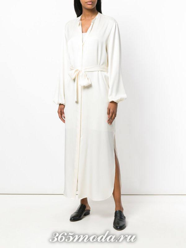 белое макси платье-рубашка с поясом