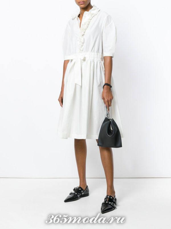 платье-рубашка клеш с укороченными рукавами