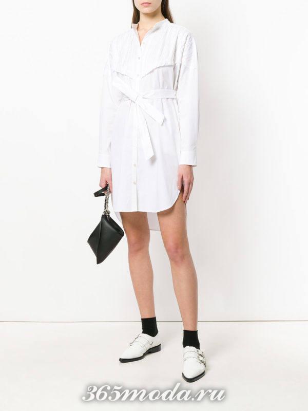 асимметричное короткое платье-рубашка с поясом