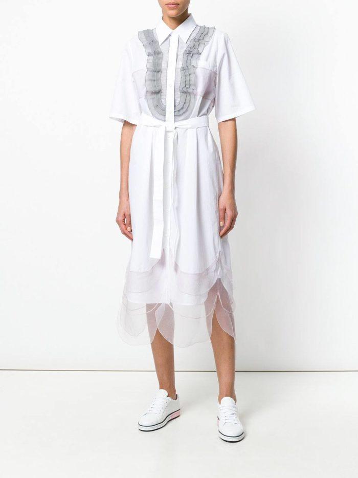 многослойное платье-рубашка с жабо