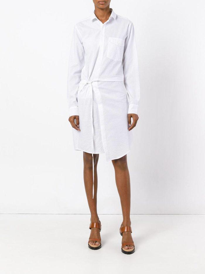 белое платье-рубашка с запахом