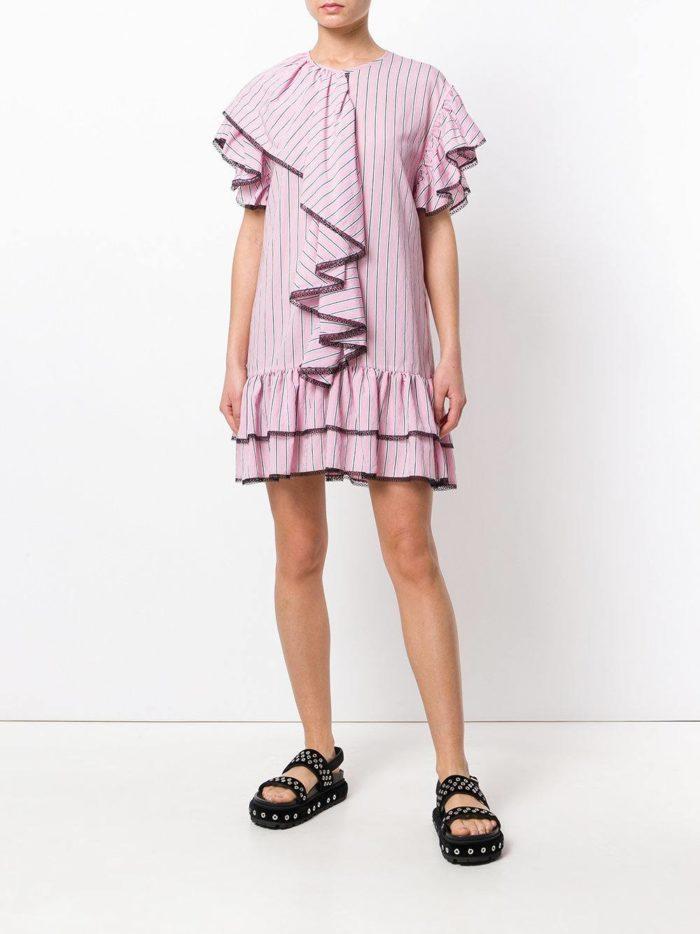 мини платье-рубашка с оборками