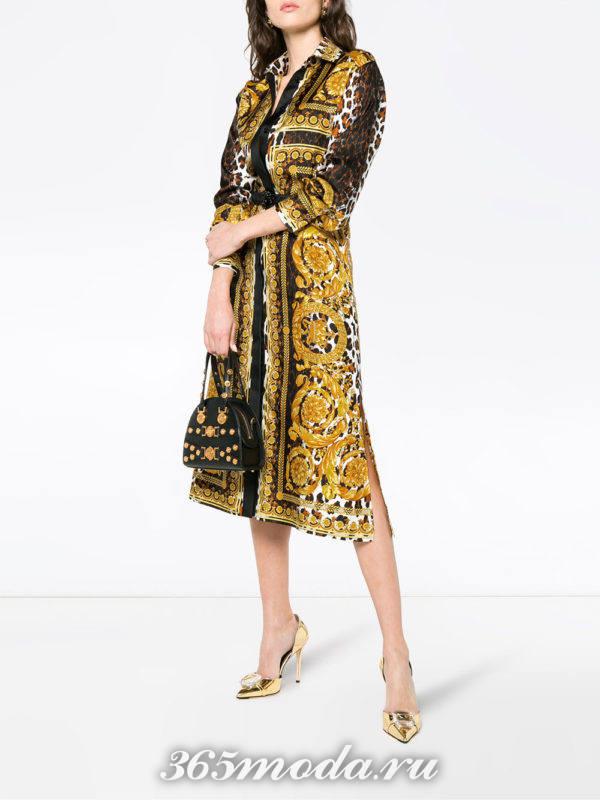 миди платье-рубашка с комбинированным принтом