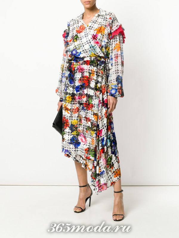 асимметричное платье-рубашка с принтом