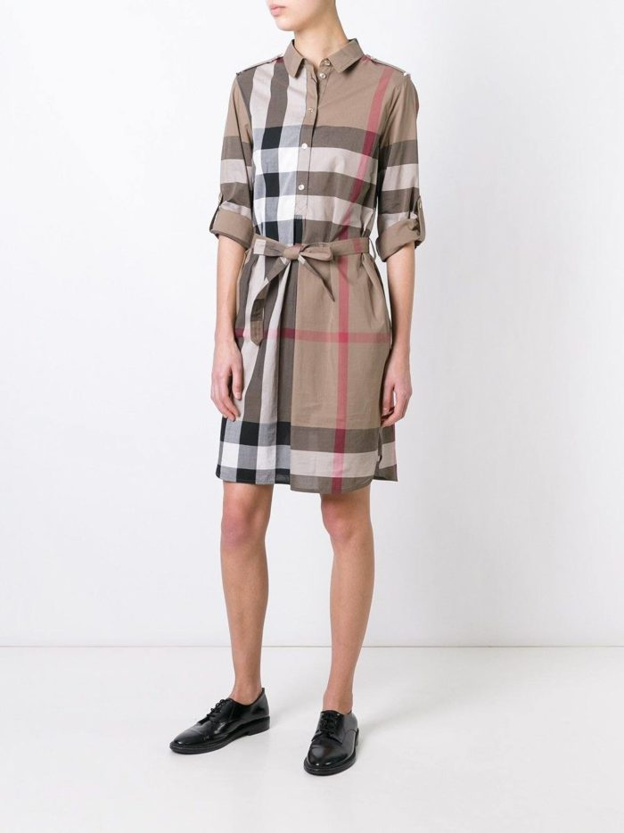 платье-рубашка в клетку с поясом