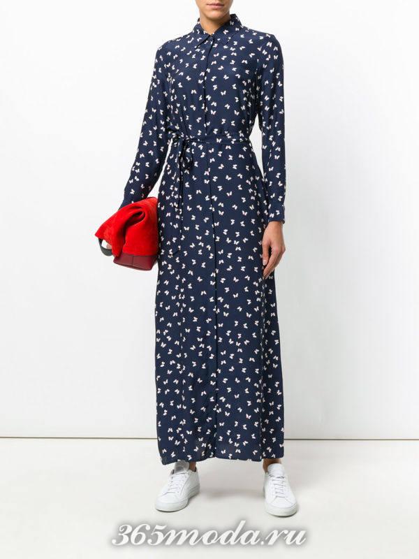 синее макси платье с принтом