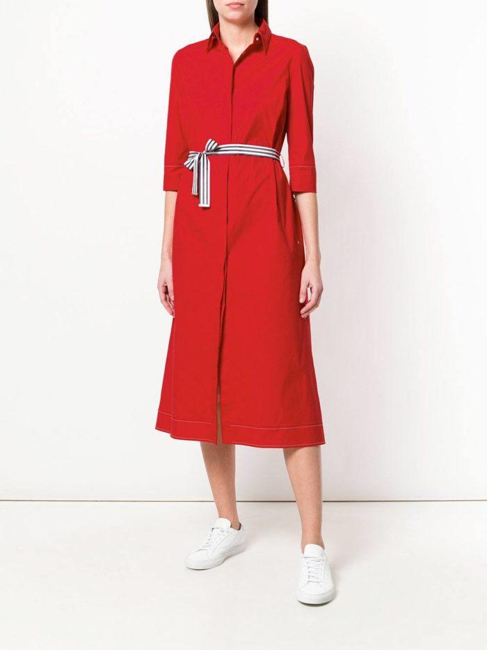 красное миди платье-рубашка с поясом