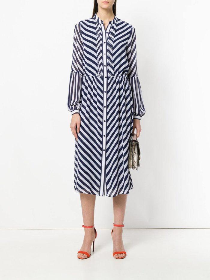 полосатое миди платье-рубашка