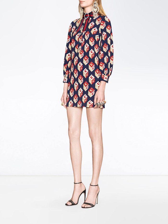мини платье-рубашка с принтом и декором