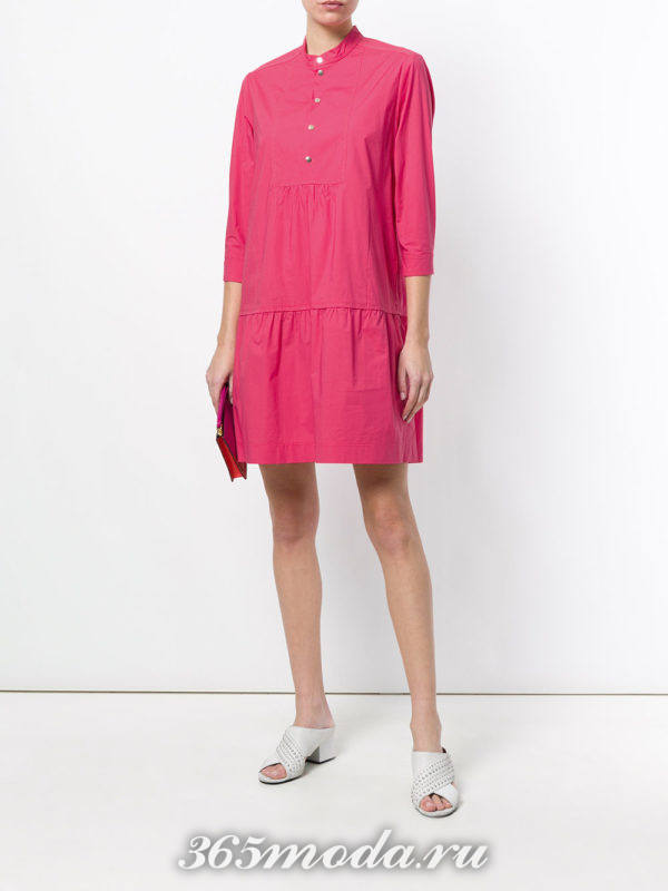 розовое платье-рубашка с укороченными рукавами