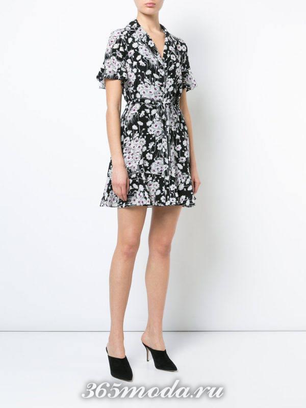 мини платье-рубашка с принтом