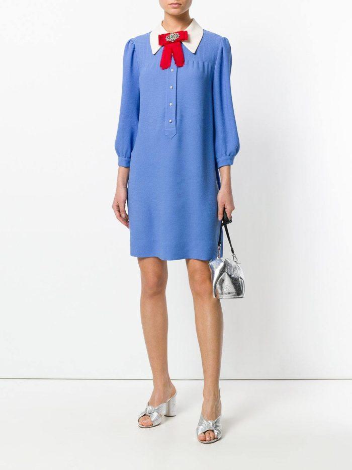 шифоновое платье-рубашка с декором