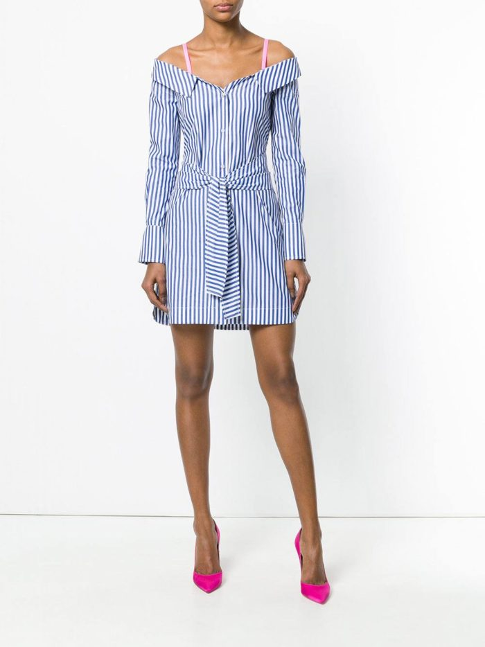 мини платье-рубашка на бретелях