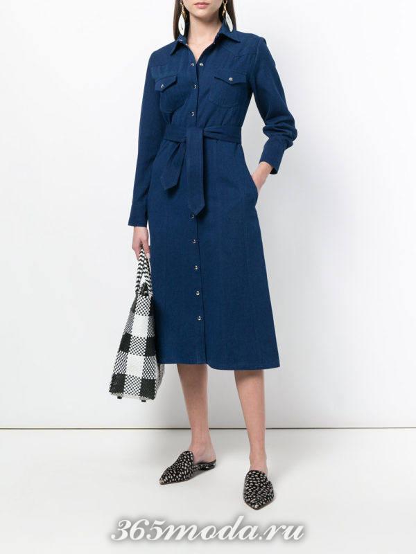 джинсовое миди платье-рубашка с поясом