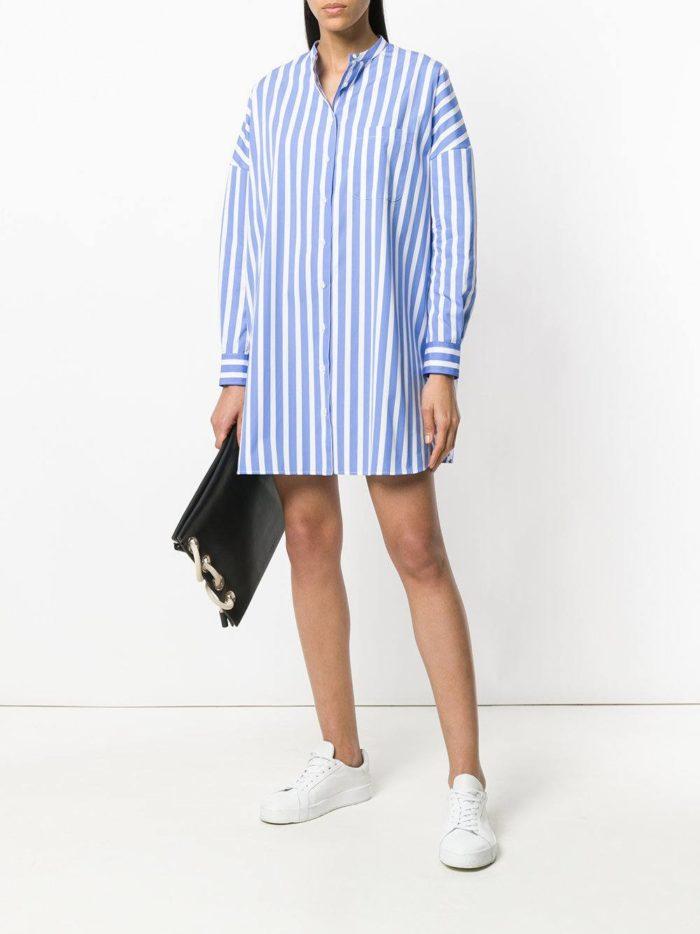 короткое платье-рубашка в полоску