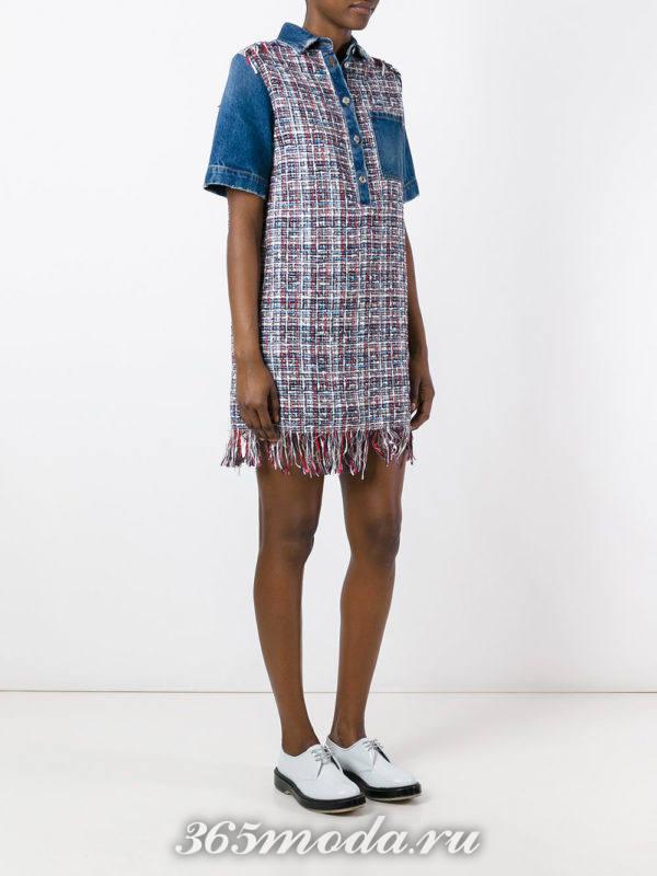 комбинированное мини платье-рубашка