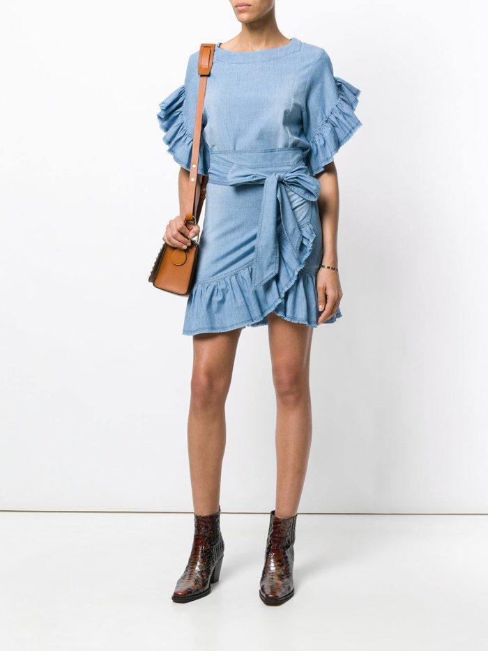 джинсовое платье-рубашка с оборками