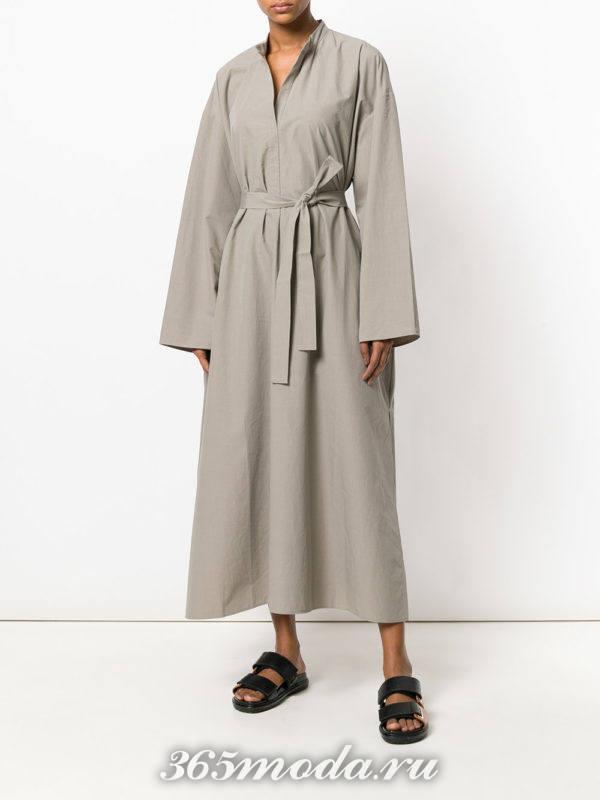 кофейное макси платье-рубашка с поясом