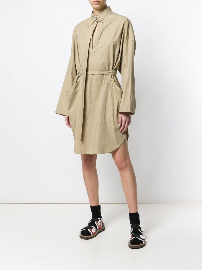 песочное асимметричное платье-рубашка
