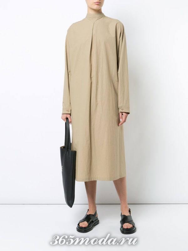 свободное миди платье-рубашка беж