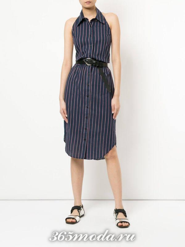 асимметричное платье-рубашка с поясом