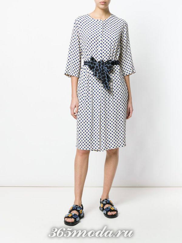 платье-рубашка в горох с поясом