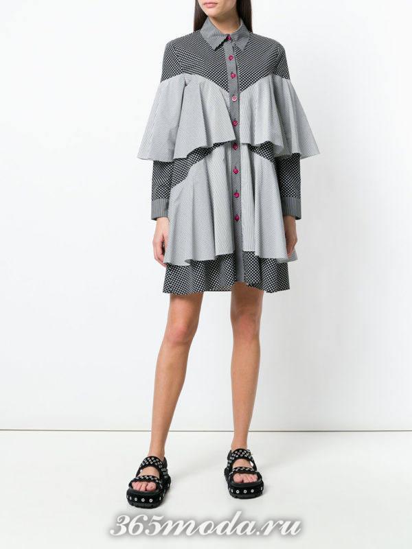 многослойное платье-рубашка с длинными рукавами