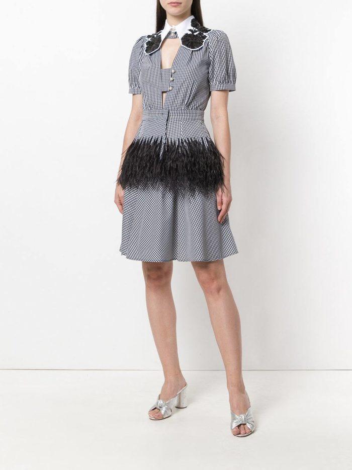 платье-рубашка с декором и принтом