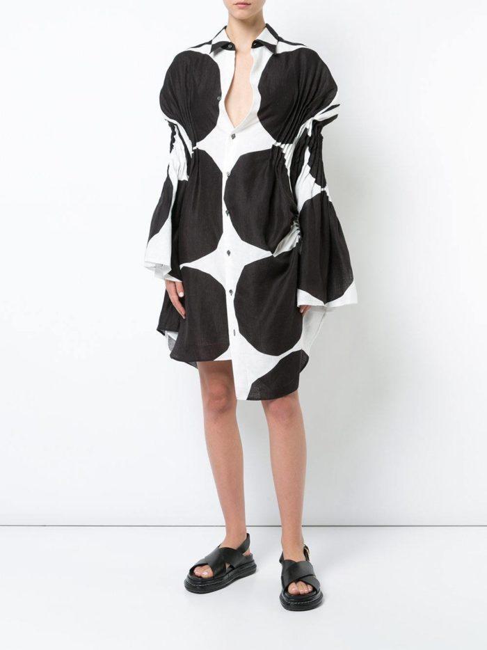 платье-рубашка с крупным принтом