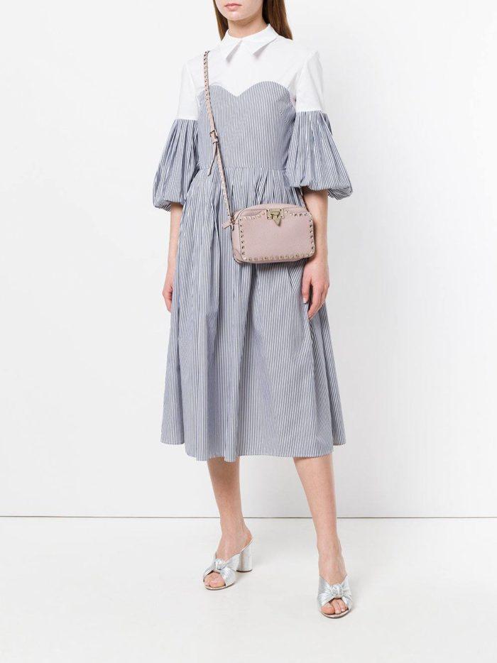 комбинированное платье-рубашка с пышными рукавами