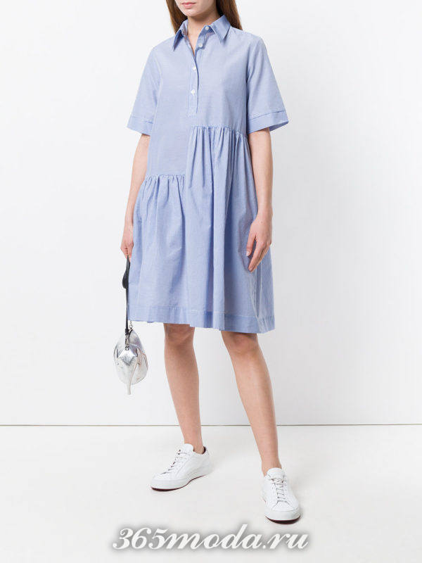 голубое платье-рубашка оверсайз
