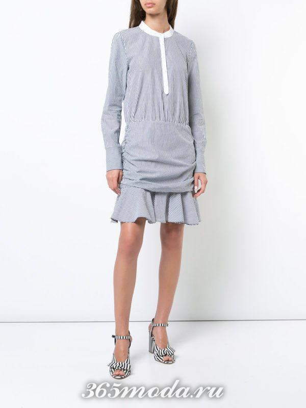 платье-рубашка в полоску со сборкой