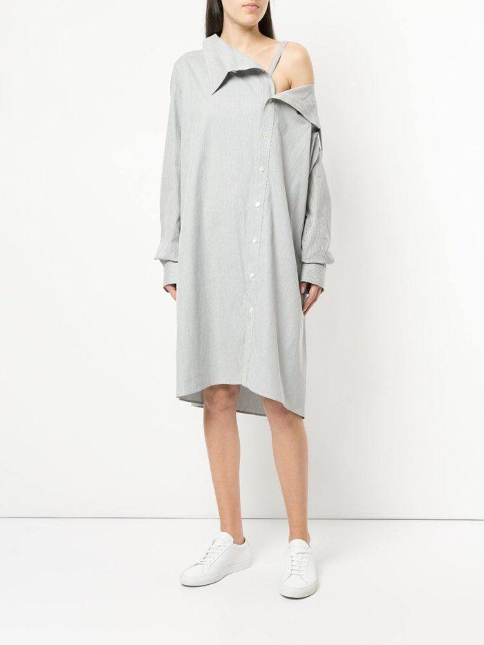 платье-рубашка оверсайз с открытым плечом
