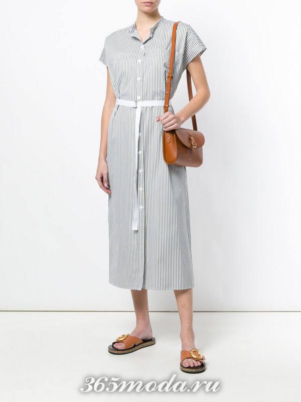 миди платье-рубашка с поясом