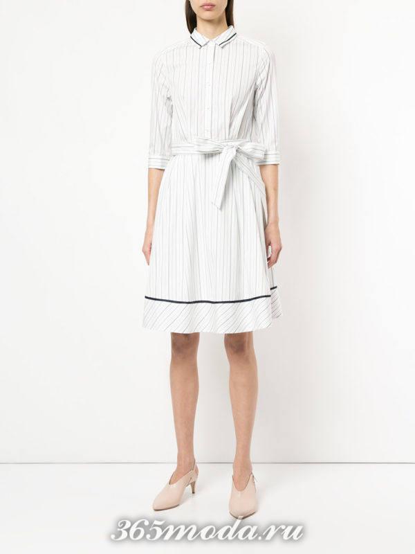 полосатое платье-рубашка с укороченными рукавами