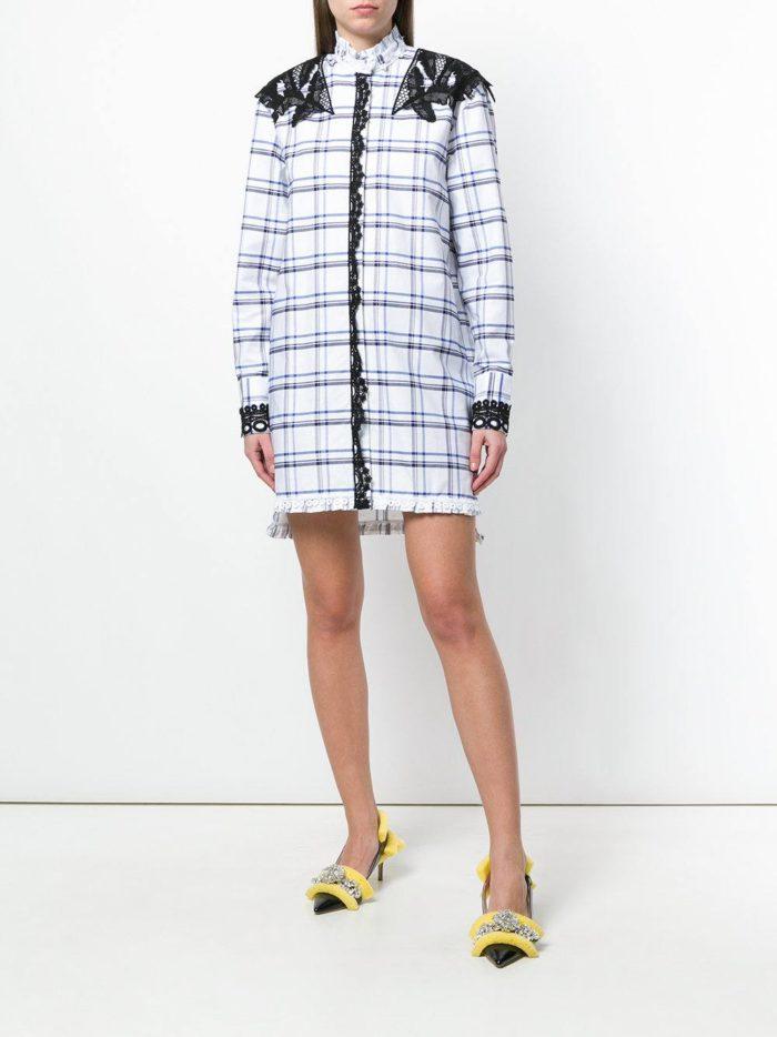 платье-рубашка в клетку с кружевом