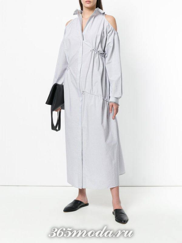 макси платье-рубашка с открытыми плечами