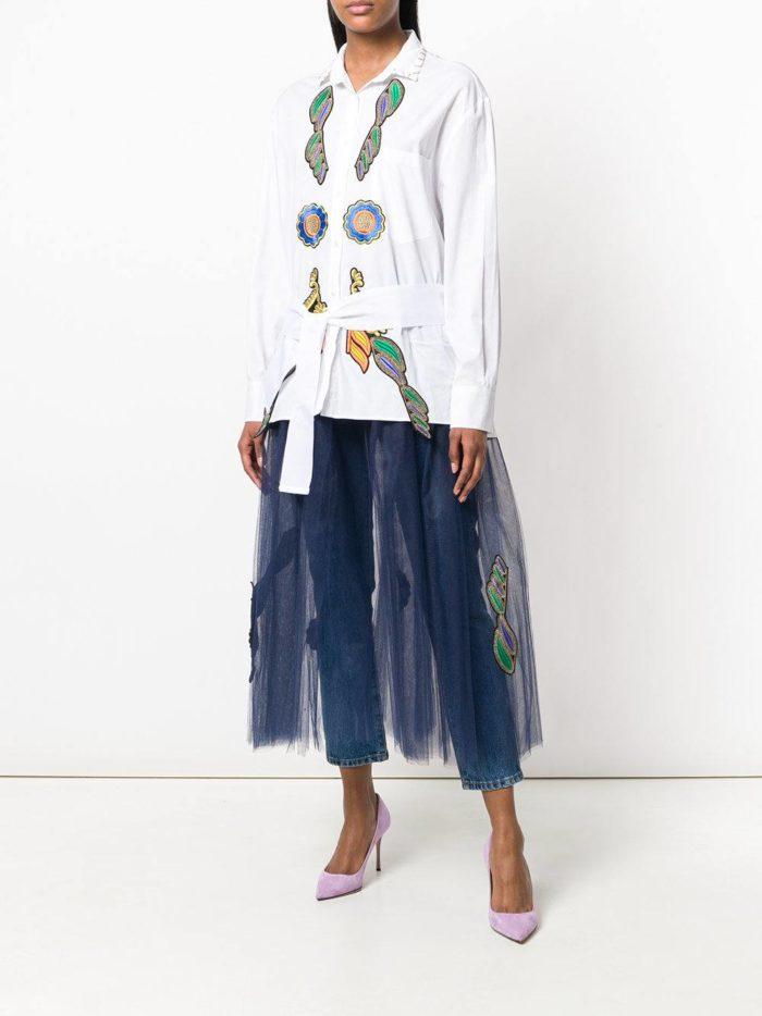 многослойное комбинированное платье-рубашка