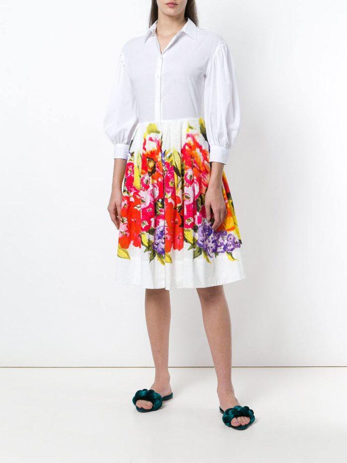 платье-рубашка клеш с принтом