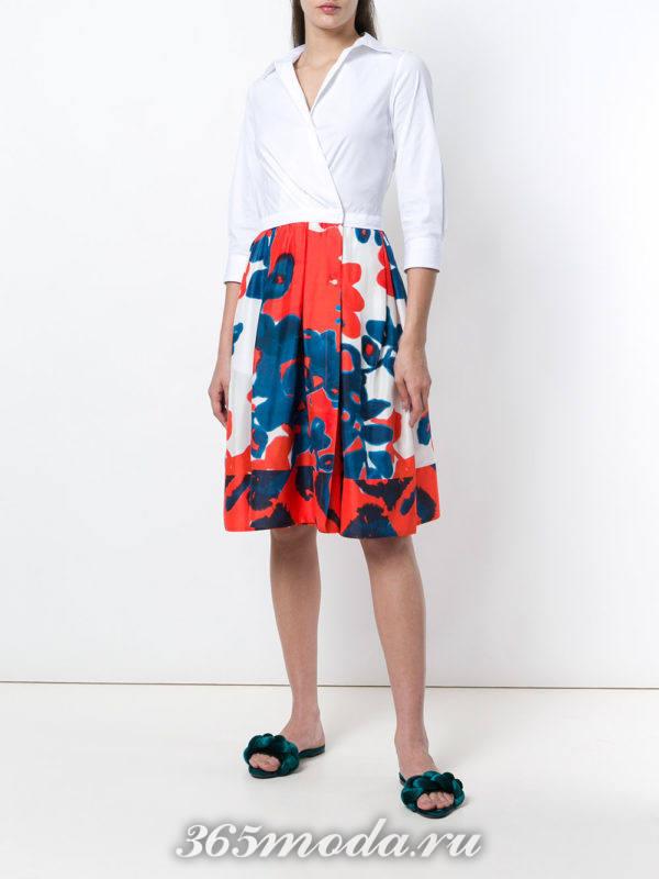 комбинированное короткое платье-рубашка