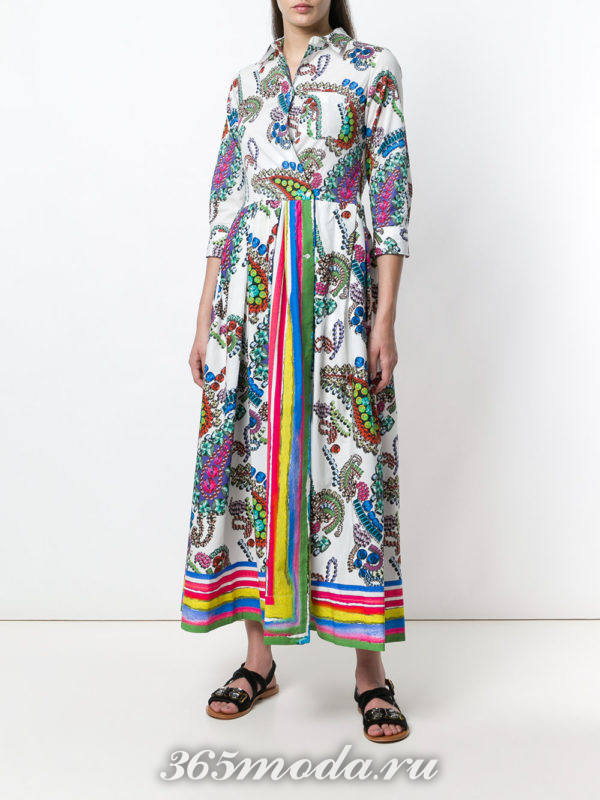 разноцветное макси платье-рубашка