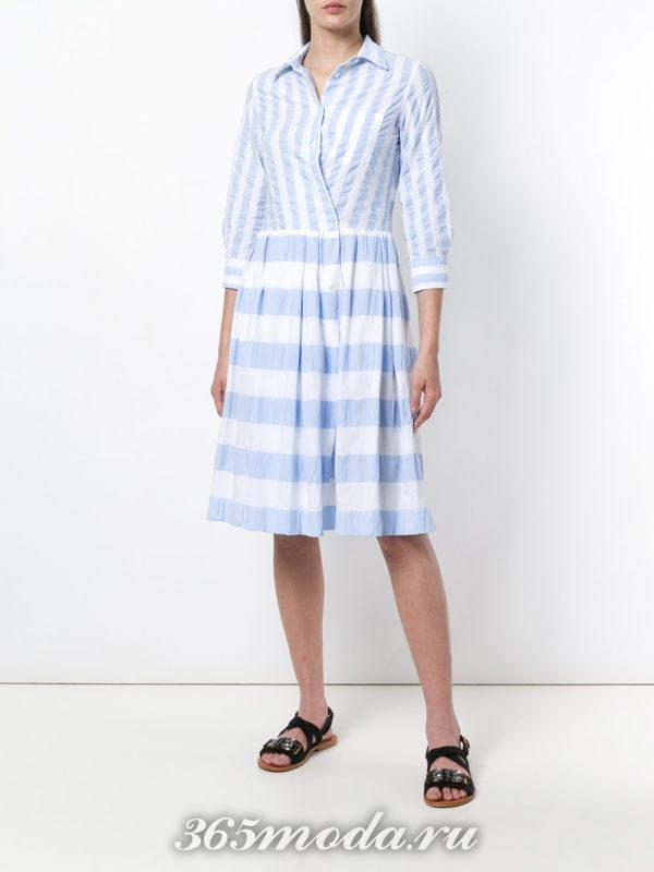 двухцветное платье-рубашка в полоску