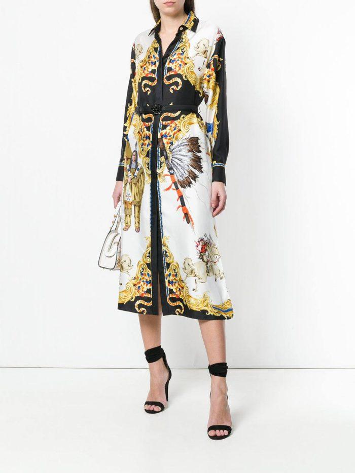 платье-рубашка миди с рисунком