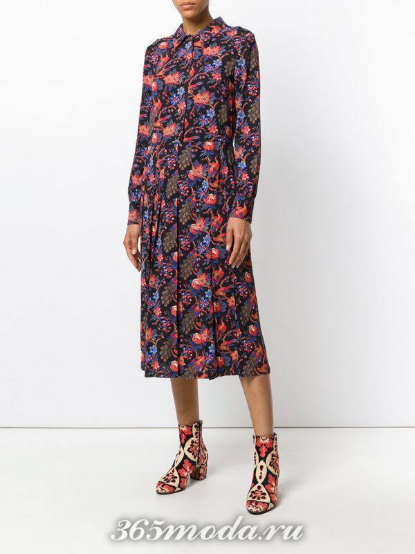 платье-рубашка плиссе