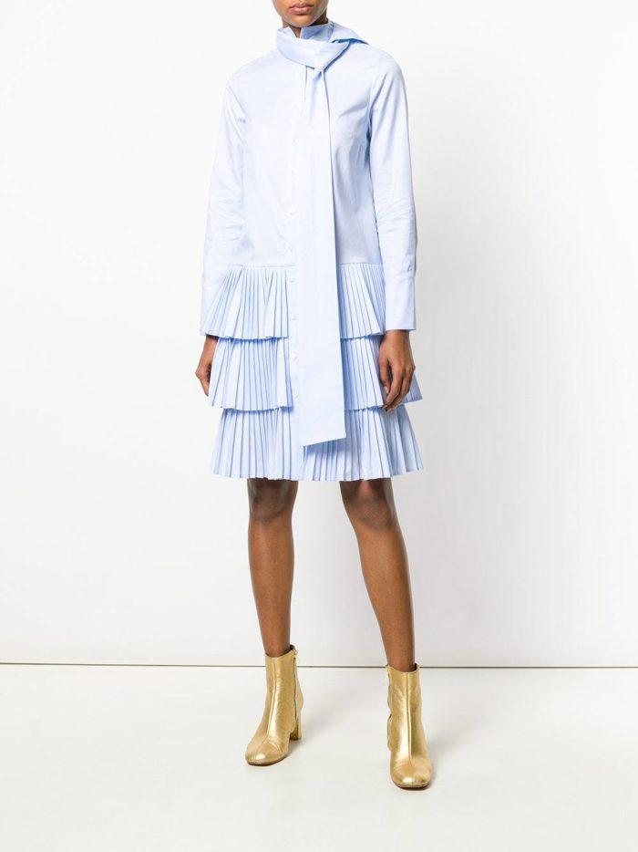 многослойное короткое платье-рубашка