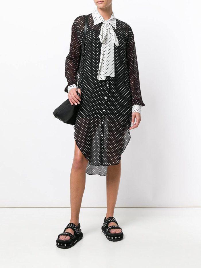 платье-рубашка в горох с бантом
