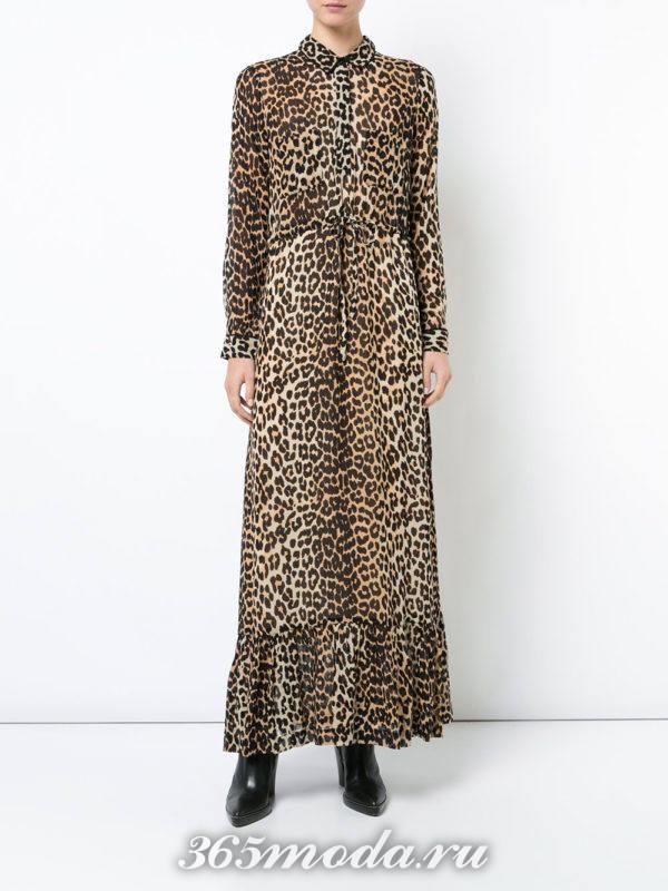 платье-рубашка с животным принтом