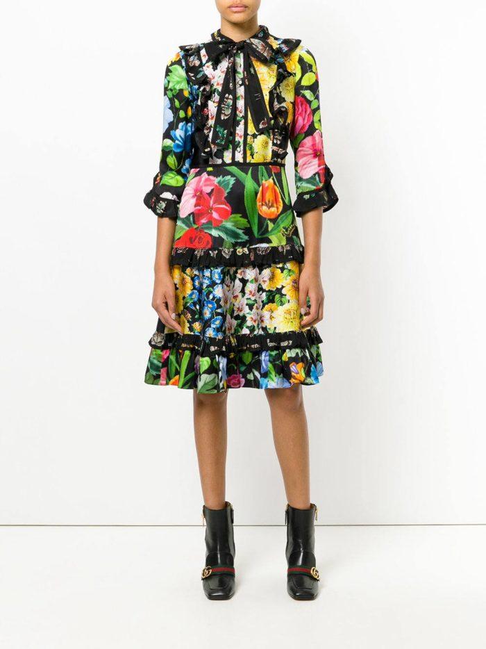 платье-рубашка с цветочным принтом и оборками