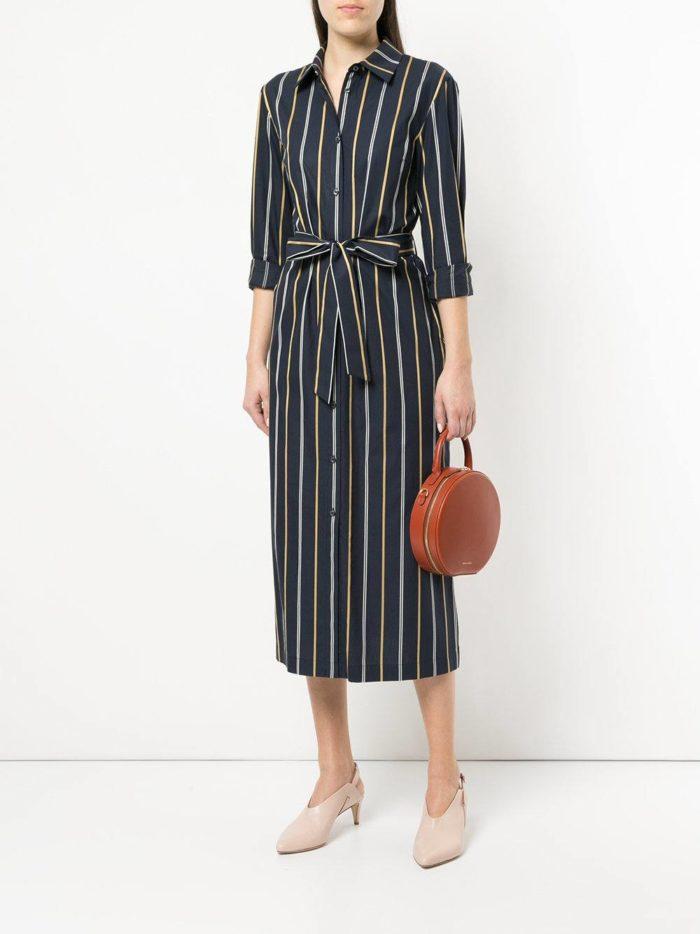 черное полосатое платье-рубашка
