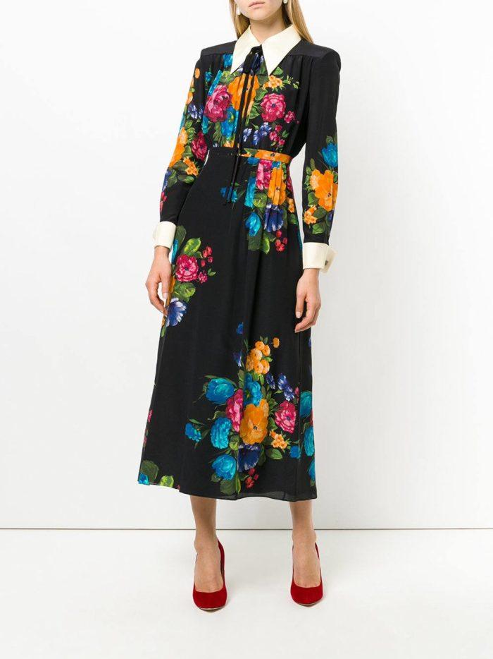 черное платье-рубашка с вышивкой и манжетами